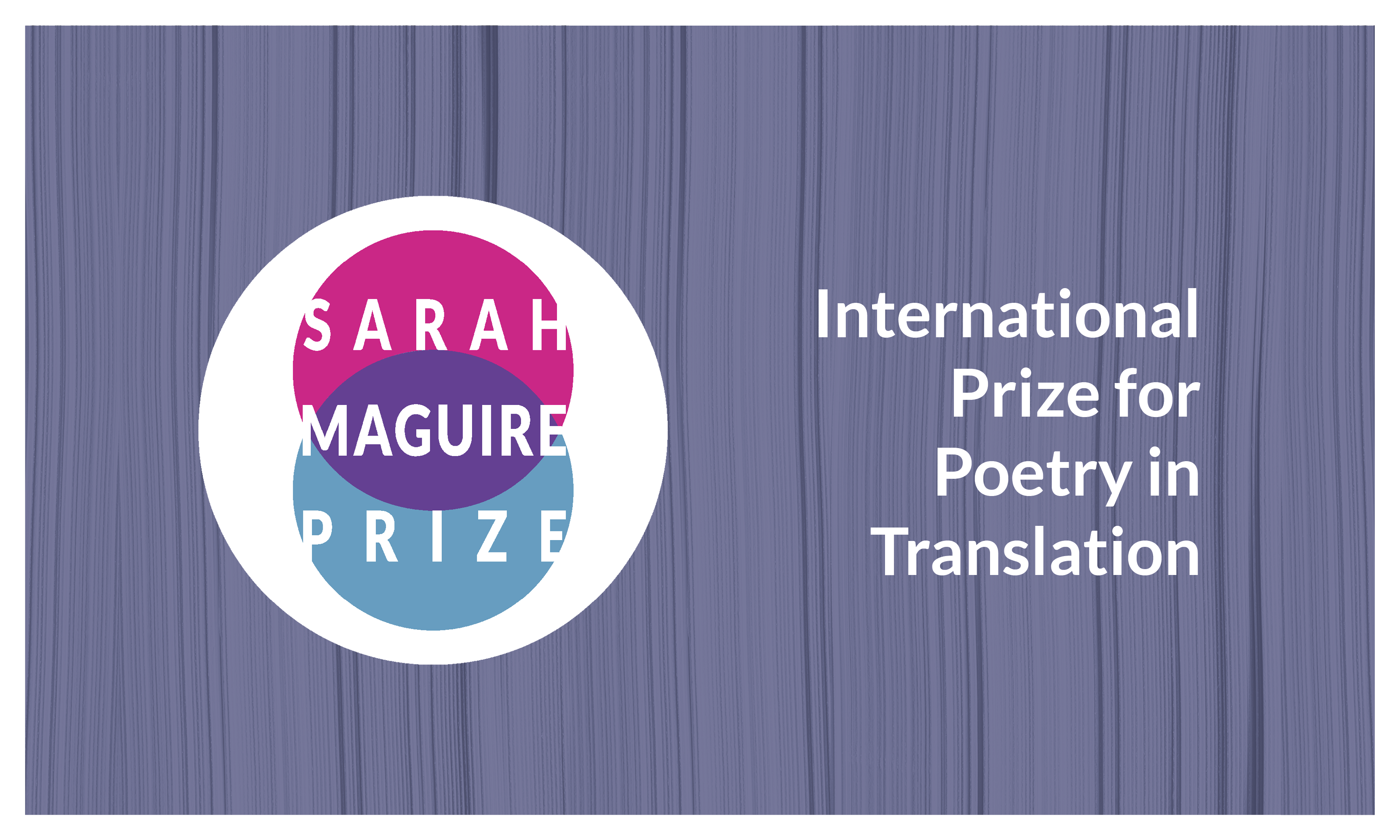 Sarah Maguire Prize 2022 Logo with Gunmetal Lavender background